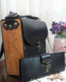 الگوی کیف چرم برش لیزر  با طبله چوبی همراه با کیف پول