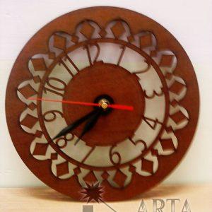 ساعت دیواری چوبی طرح گرد