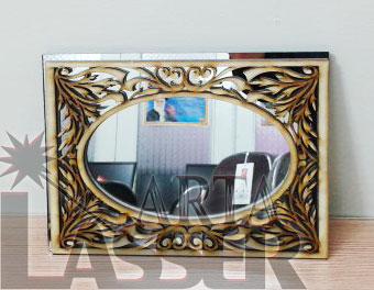 قاب آینه چوبی فانتزی طرح بیضی