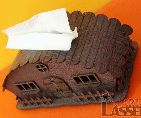 جادستمال کاغذی چوبی طرح کلبه