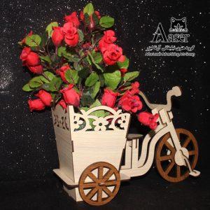 گلدان چوبی رومیزی طرح دوچرخه